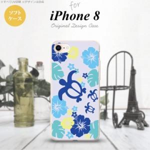iPhone8 スマホケース カバー アイフォン8 亀とハイビスカス 青 nk-ip8-tp1107