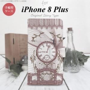 手帳型 ケース  スマホ カバー iPhone8Plus アイフォン 妖精と時計 シック nk-004s-ip8p-dr1254