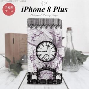 手帳型 ケース  スマホ カバー iPhone8Plus アイフォン 妖精と時計 黒 nk-004s-ip8p-dr1256