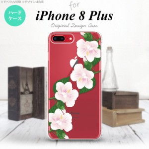 iPhone8Plus スマホケース カバー アイフォン8プラス ハイビスカス 白 nk-ip8p-083