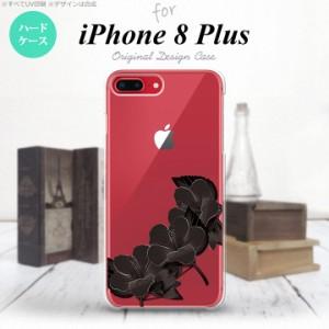 iPhone8Plus スマホケース カバー アイフォン8プラス ハイビスカス 黒 nk-ip8p-084