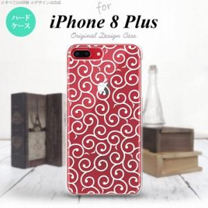 iPhone8Plus スマホケース カバー アイフォン8プラス 唐草 クリア×白 nk-ip8p-1128