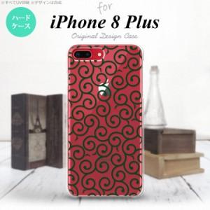 iPhone8Plus スマホケース カバー アイフォン8プラス 唐草 クリア×緑 nk-ip8p-1129