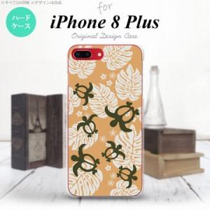 iPhone8Plus スマホケース カバー アイフォン8プラス ホヌ・小 オレンジ nk-ip8p-1465