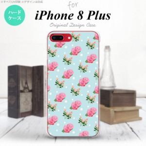 iPhone8Plus スマホケース カバー アイフォン8プラス 花柄・バラ 水色 nk-ip8p-241