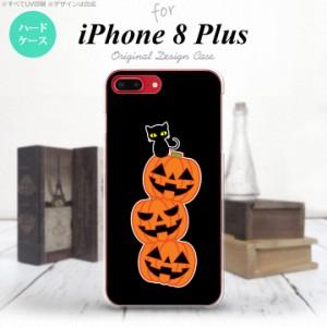 iPhone8Plus スマホケース カバー アイフォン8プラス ハロウィン 連カボチャ 黒 nk-ip8p-407