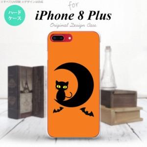 iPhone8Plus スマホケース カバー アイフォン8プラス ハロウィン 月と猫 nk-ip8p-411