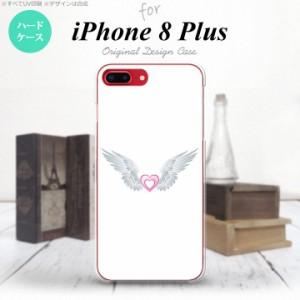iPhone8Plus スマホケース カバー アイフォン8プラス 翼(ハート) 白×白 nk-ip8p-475