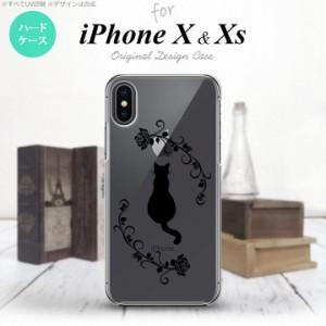 iPhoneX スマホケース カバー アイフォンX 猫とバラB  nk-ipx-1143