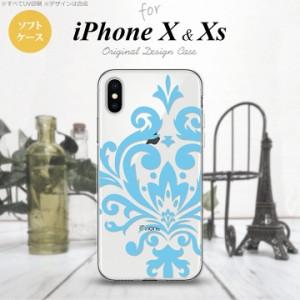 iPhoneX スマホケース カバー アイフォンX ダマスク柄大B 水色 nk-ipx-tp1035