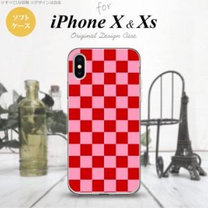 iPhoneX スマホケース カバー アイフォンX スクエア 赤×ピンク nk-ipx-tp770