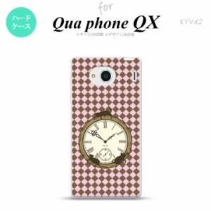 KYV42 スマホケース QUA Phone QX KYV42 カバー キュアフォン QX チェック時計 ピンク nk-kyv42-1221