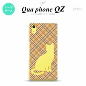 KYV44 スマホケース Qua phone QZ KYV44 カバー キュアフォン QZ 猫 チェック茶A nk-kyv44-955