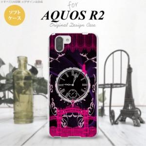 AQUOS R2 アクオス アール2 SH-03K SHV42 専用 スマホケース カバー ソフトケース 妖精と時計 ゴシックピンク nk-r2-tp1251