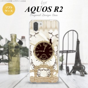AQUOS R2 アクオス アール2 SH-03K SHV42 専用 スマホケース カバー ソフトケース 妖精と時計 ゴシック茶 nk-r2-tp1253