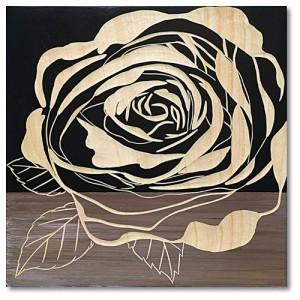 取寄品 送料無料 インテリア パネル ローズ2 ウッドスカルプチャー アート ホワイト ブラック レッド