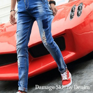 メンズファッションデニム!遊び心満載のダメージジーンズ♪ | メンズ ボトムス デニム ジーンズ スキニー 大きいサイズ ★cla65005★