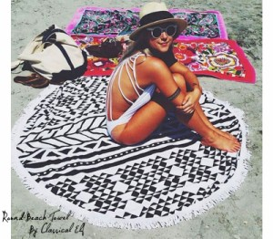 ラウンドタオル ラウンドビーチタオル 150x150 海 夏 セレブやSNSで話題!Round Beach Towel ラグマット レジャーシート 敷物