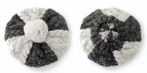 2個1000円引き/帽子/ラビットポン付きツートーンニットベレー帽/メンズレディース iber0057