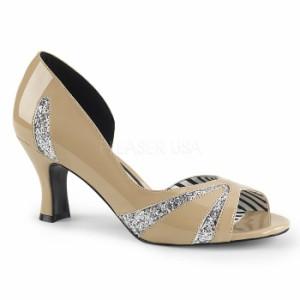 取寄せ靴 送料無料 キラキラ ラメ 片側サイドオープン パンプス 7.5cmキトゥンヒール クリーム エナメル 銀 シルバー グリッター