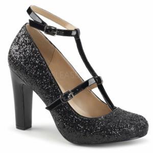 取寄せ靴 送料無料 新品 キラキララメ アンクルベルト ラウンドトゥ パンプス 10cmヒール 黒 ブラック グリッター 大きいサイズあり