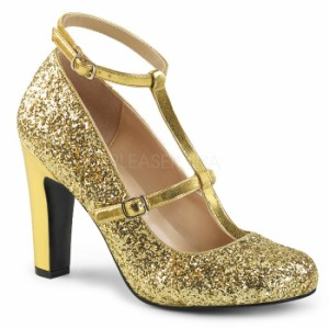 取寄せ靴 送料無料 新品 キラキララメ アンクルベルト ラウンドトゥ パンプス 10cmヒール 金 ゴールド グリッター 大きいサイズあり