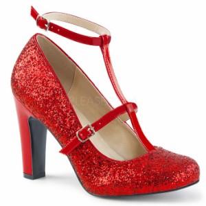 取寄せ靴 送料無料 新品 キラキララメ アンクルベルト ラウンドトゥ パンプス 10cmヒール 赤 レッド グリッター 大きいサイズあり