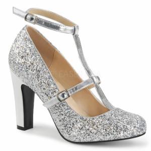 取寄せ靴 送料無料 新品 キラキララメ アンクルベルト ラウンドトゥ パンプス 10cmヒール 銀 シルバー グリッター 大きいサイズあり
