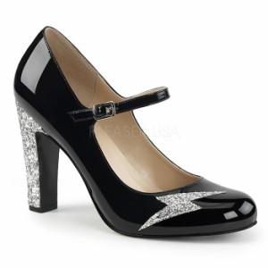 取寄せ靴 送料無料 新品 キラキララメ 甲ベルト ラウンドトゥ パンプス 10cmヒール 黒 ブラック エナメル 銀 シルバー グリッター