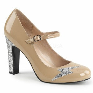 取寄せ靴 送料無料 キラキララメ 甲ベルト ラウンドトゥ パンプス 10cmヒール クリーム エナメル 銀 シルバー グリッター 大きいサイズ有