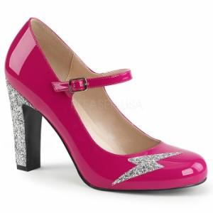取寄せ靴 送料無料 新品 キラキララメ 甲ベルト ラウンドトゥ パンプス 10cmヒール ホットピンク エナメル 銀 シルバー グリッター