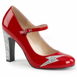 取寄せ靴 送料無料 新品 キラキララメ 甲ベルト ラウンドトゥ パンプス 10cmヒール 赤 レッド エナメル 銀 シルバー グリッター