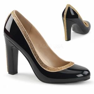 取寄せ靴 送料無料 キラキラ ラインストーン ラウンドトゥ ビジュー パンプス 10cmヒール 黒 ブラック エナメル 大きいサイズあり