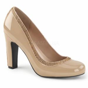 取寄せ靴 送料無料 キラキラ ラインストーン ラウンドトゥ ビジュー パンプス 10cmヒール クリーム エナメル 大きいサイズあり