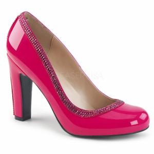 取寄せ靴 送料無料 キラキラ ラインストーン ラウンドトゥ ビジュー パンプス 10cmヒール ホットピンク エナメル 大きいサイズあり