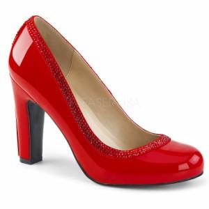 取寄せ靴 送料無料 キラキラ ラインストーン ラウンドトゥ ビジュー パンプス 10cmヒール 赤 レッド エナメル 大きいサイズあり