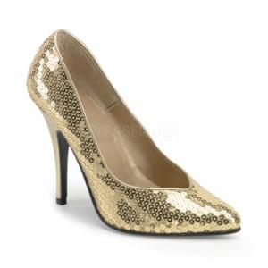 取寄せ靴 送料無料 キラキラ 美脚パンプス 激安 12.5cmハイヒール 金スパンコール プリーザー