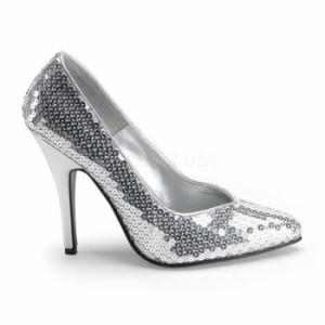 取寄せ靴 送料無料 キラキラ 美脚パンプス 激安 12.5cmハイヒール 銀スパンコール プリーザー
