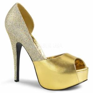 取寄せ靴 送料無料 キラキラ ラメ ピープトゥ 片側サイドオープン 厚底パンプス 14.5cmヒール 金 ゴールド つや消し マルチ グリッター
