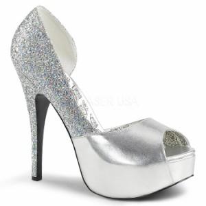 取寄せ靴 送料無料 キラキラ ラメ ピープトゥ 片側サイドオープン 厚底パンプス 14.5cmヒール 銀 シルバー つや消し マルチ グリッター