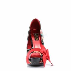 取寄せ靴 オープントゥ かわいいプリント サテンリボン付き 薄厚底パンプス 11.5cmヒール 黒ブラックエナメル 赤レッドサテン