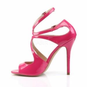 取寄せ靴 送料無料 かかとカバー&2連アンクルベルト付 薄厚底サンダル 12.5cmヒール ホットピンクエナメル プリーザー 大きいサイズあり