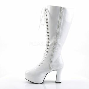 取寄せ靴 送料無料 コスプレ靴 ワイドな筒周り 編み上げ厚底ロングブーツ 10cmヒール 白エナメル ファンタズマ