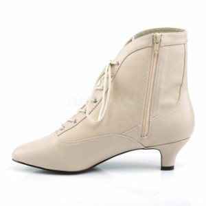 取寄せ靴 送料無料 レースアップ アンクル ブーツ 5cmキトゥンヒール ジッパー付き クリーム フェイクレザー 大きいサイズあり