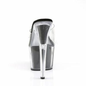 取寄せ靴 ラメ素材入り厚底ミュールサンダル セクシー女性シルエット柄17.5cmヒール クリア黒ブラック