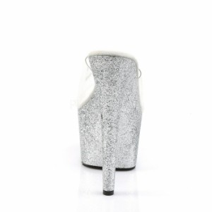 取寄せ靴 ヒールとソールがラメ風デザイン 小悪魔 キャバ系厚底ミュールサンダル 17.5cmヒール クリア銀シルバーグリッター