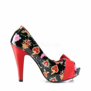 取寄せ靴 送料無料 オープントゥ かわいいプリント サテンリボン付き 薄厚底パンプス 11.5cmヒール 黒ブラックエナメル 赤レッドサテン