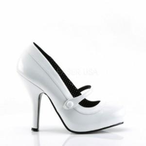 取寄せ靴 送料無料 内側がドット柄 甲ベルト付き ハイヒールパンプス 11.5cmヒール 白ホワイトエナメル 大きいサイズあり