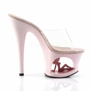 取寄せ靴 厚底ミュールサンダル ストームの空間にセクシーガールラインストーン 17.5cmヒール クリアベビーピンク キャバ靴