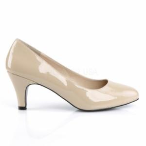 取寄せ靴 送料無料 新品 ハイヒール パンプス 7.5cmブロックヒール クリーム エナメル 大きいサイズあり